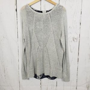 Apt.9  grey lightweight sweater with blue floral
